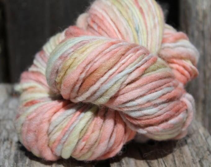 Handspun and dyed Falkland yarn. Next to skin soft. Appx,.4oz /140 yards. Aran Weight. F164