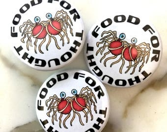 Flying Spaghetti Monster is Food For Thought Pin Back Button