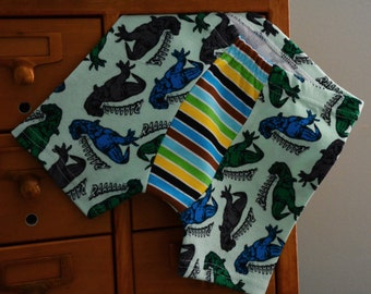 Dinos on Green with stripes -  size 4/5 - READY TO SHIP