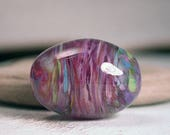 Lampwork Glass Focal Bead in Purples Turquoise Lime Olive Shape Divine Spark Designs SRA
