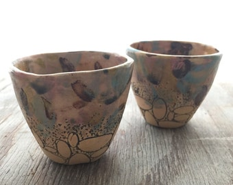 Small Pink Landscape Oval Cups