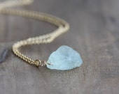 Raw aquamarine & gold necklace - rough gemstone nugget on 14k gold filled chain - March birthstone necklace