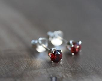 Garnet stud earrings ~ Mozambique garnets in sterling silver settings