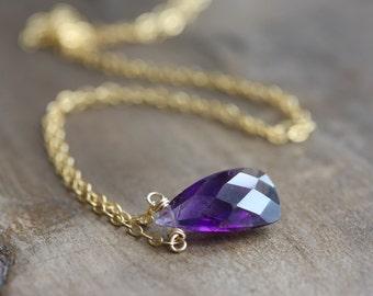 Moss amethyst necklace - dainty trillion cut briolette - 14k gold fill chain - February birthstone - amethyst pendant gemstone necklace