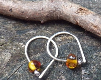 20% OFF TODAY Amber sterling silver open hoop earrings