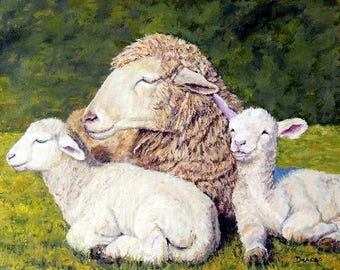 Sheep Art  Print of Original Acrylic Painting,  Mother and Two Lambs, baby sheepm Ewe, Dottie Dracos, Various Sizes