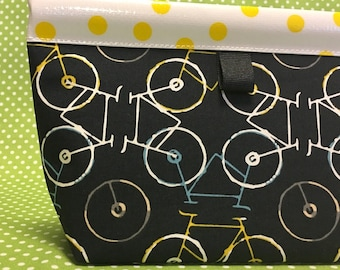 Bicycle Puzzle  Oilcloth Snappy Pouch - Medium