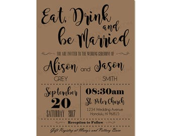 Custom Modern Retro Rustic Wedding Invitation Invite / RSVP Digital Design Set - Eat Drink & Be Married / Typography - Printable