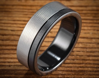 Men's Wedding Band Comfort Fit Interior Black Zirconium Bi-Color Offset Ring