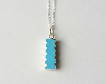 Blue Turquoise Necklace, Gemstone Bar Necklace, Sterling Silver Turquoise Jewelry, Boho Jewellery, Bohemian Southwest Jewelry, Gift Women