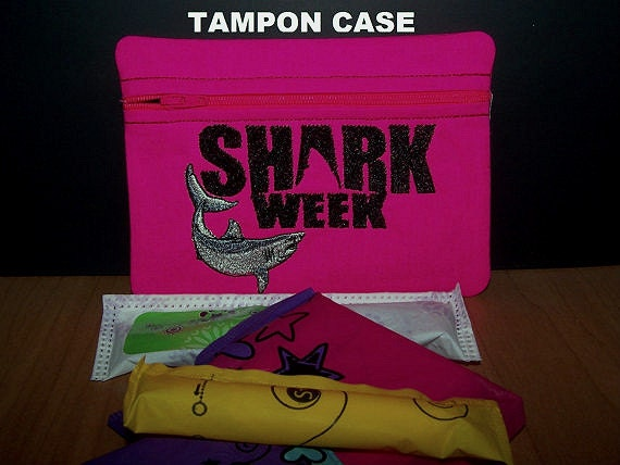 shark week tampon and feminine pad holder hot pink zippered