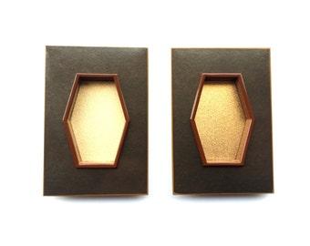 Japanese Door Pulls - Sliding Door Pulls - Pocket Door Pulls - Japanese Vintage Door Pulls Rectangle Brown Gold (DP2G) Set of 2
