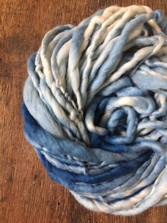 Indigo dyed, variegated blue handspun luxury yarn, 40 yards, chunky weight handspun, plant dyed, indigo blue yarn, botanical dyes,