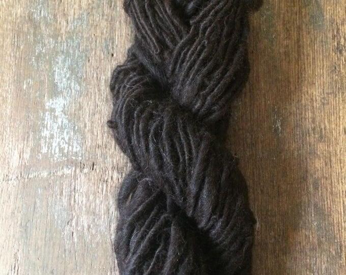 Natural dark brown alpaca handspun yarn, undyed handspun yarn, 52 yards, super soft single ply yarn, great for weaving, knitting, doll hair