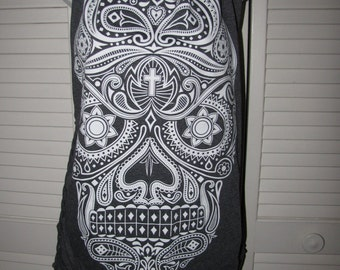 mexican sugar skull day of the dead gray and white backless cut up woven deconstructed shredded tank top one size fits most