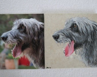 Irish Wolfhound Hand Painted Pet Portrait 6 x 6 inch Ceramic Tiles and Made to Order by Shannon Ivins