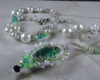 Green  blue dichroic glass bezel set beadweaving crystal  pearl beaded necklace lady of the lake