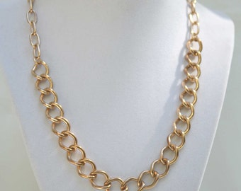 Gold Chain Necklace, Designer Necklace, Vintage Necklace, 1970's Necklace, Vintage Gold Chain, Large Chain Necklace, Gold Link Necklace