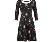Anne Boleyn dress long sleeves black alternative tudor keys size xs s m l xl xxl raven unique dress queen Six Wives Henry VIII red rose