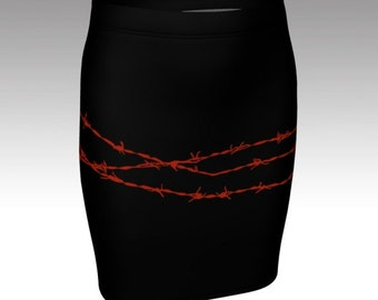 Black pencil skirt barbed wire alternative clothing bodycon mini size xs s m l xl red spikes goth punk metal unique fitted skirt