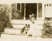vintage photo 1915 Little Girl Hair Bow smiling Boston Terrier Old Dog on Steps