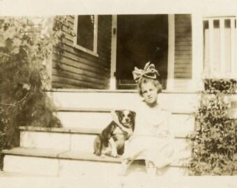 vintage photo 1915 Little Girl Hair Bow smiling Boston Terrier Old Dog on Steps