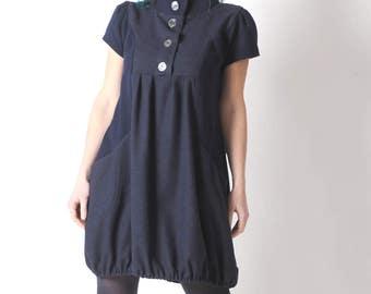 Dark blue wool dress, Short-sleeved navy blue bubble dress, Navy blue wool womens dresses, Womens clothing, MALAM, size FR 42-44/ UK 14-16