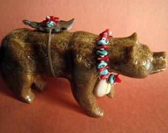 Large Bear Fetish Zuni Carving Native American Totem Walking Bear Abalone Offering & Necklace Heishi Turquoise Coral Spirit Animal Sculpture