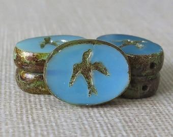 Aqua Opal Swallow Czech Glass Bead 16x12mm Oval : 6 pc Blue Swallow Picasso Bead