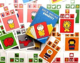Vintage 1970s Dick Bruna Miffy Go Fish Card Game - Dutch 70s Ravensburger Kwartet Childrens Flash Cards Toy w Box - 32 picture cards
