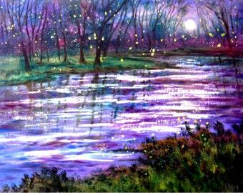 Violet-Purple moon and fireflies-   print - 8 x 10 photo prints buy 2 get 1 free