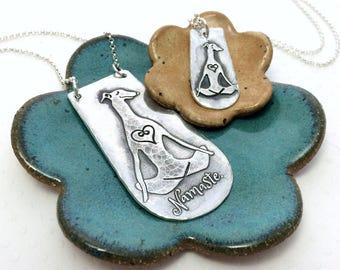 PETITE Namaste Greyhound Necklace - Greyhound - Zen Collection - Greyhound Jewelry - Animal Lover - Fine Silver - Yoga Dog - Whippet - Galgo