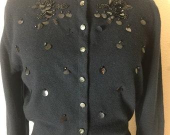 Fall sale 1950s cardigan beaded cardigan size medium vintage sweater black cardigan rockabilly sweater