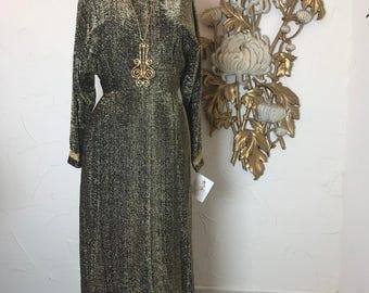 1960s dress gold dress size medium Vintage dress maxi dress lurex dress full length gown alice of california hostess gown