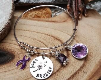 DP-1 Fibromyalgia Jewelry Lupus Bracelet Alzheimer's Awareness Pancreatic Cancer Just Breathe Fibro Jewellery Dandelion Birthstone Bracelet