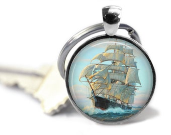 Vintage Ship KeyFob, Old Ship Keyring, Old Sailing Ship, Sailing Vessel, Nautical Key Ring, Gift for Him, Sea Lover Gift, Antique Ship