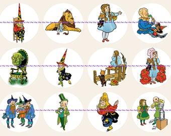 Vintage Wizard of Oz pins, magnets or flatback cabochons, 1 inch or 2.25 inch available, 5ct or 12ct Oz Party Pavors, Oz Illustrations Set A
