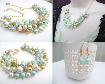 Aqua Mint White and Gold Pearl Beaded Jewelry Set, Necklace Bracelet Earrings, Cluster Jewelry, Mint Wedding Set, Bridesmaids Gifts, Chunky