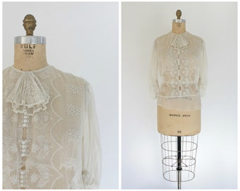 antique edwardian era sheer lace blouse | vintage 1900s top small / medium | as - is