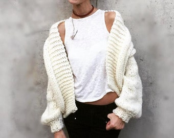 women's ivory chunky sweater, bomber jacket, handknit sweater,  women's cardigan, women's sweater, alpaca mix, Ltd Edition in this shade