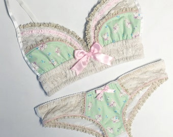 Kitten Mint & Pink with Gold/Cream Lace Panty - Pick Your Size - LIMITED EDITION - Handmade Vegan Bridal