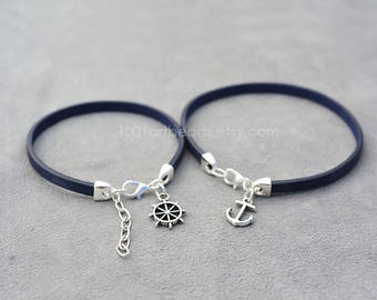 Couples Bracelet, Captain and First mate gift, Her His Bracelet, Matching bracelets, Anchor and Wheel Navy Blue Bracelets, Sailor gift