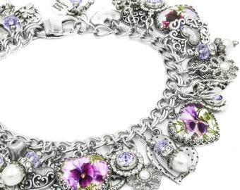 Pansy Bracelet - Pansy Jewelry - Purple Jewelry - China Flower Pattern - Faux Broken China Bracelet - Heart Flower Jewelry
