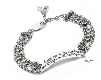 Bar Bracelet with Peter Pan quote and Custom Engraved Quote Second Star to the Right, Includes Choice of Birthstone Crystals