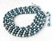 Teal Blue Mint Multi 5 Multi Strand Necklace 1950s Costume Jewelry Faux Pearl Beaded Choker 14 to 16 Inch Extension MOB MOG MOH Formal Prom