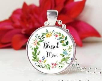Round Medium Glass Bubble Pendant Necklace- Blessed Mom In Floral Wreath 2
