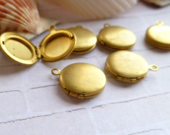 Vintage 13mm Round Raw Brass Lockets with Loop (25-12B-6)