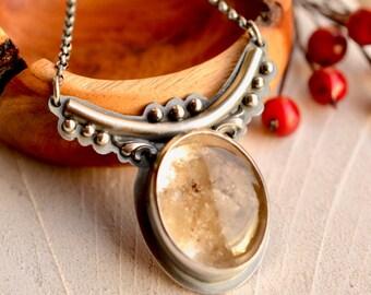 Unique Stone Pendant, Lodolite Quartz Necklace, Whimsical Style Jewelry, Artisan Necklace, Garden Quartz Necklace