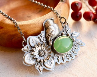 Chrysoprase Necklace, Bird Necklace, Handmade Botanical Silver Necklace, Sunflower Necklace, Ornate Silver Pendant, Flower Jewelry
