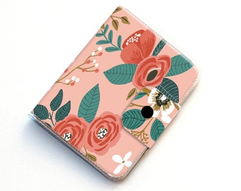 Handmade Vinyl Passport Case - Botanical Pink / traveller, passport, vinyl, gift, womans, wallet, pink, floral, flowers, gardener